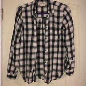 American Eagle grey, black, and white flannel